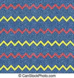 zygzak, dżinsy, tło., seamless, pattern., wektor, ilustracja