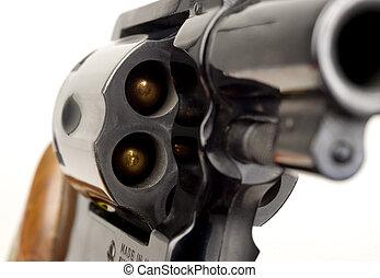 zylinder, kaliber, spitz-, gewehr, revolver, 38, beladen, ...