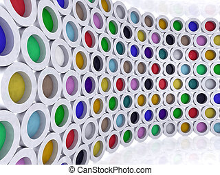 zylinder, mehrfarbig