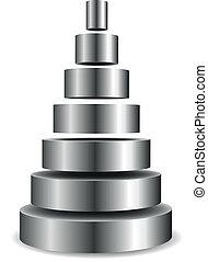 zylinder, pyramide, metallisch