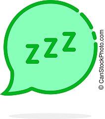 zzz, burbuja, como, caricatura, discurso, logotipo, verde