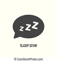 zzz, estilo, illustration., plano, simple, icono, sueño, ...