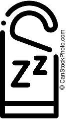 zzz, icono, hotel, contorno, etiqueta, manija, ilustración