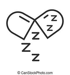 zzz, lineal, estilo, medicación, insomnio, símbolo, cápsula...