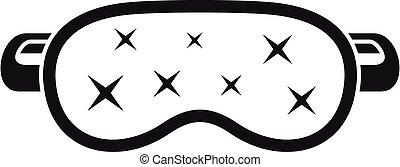 zzz, máscara durmiente, icono, simple, estilo