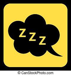 zzz, -, señal, amarillo, discurso, negro, burbuja, icono
