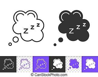 zzz, simple, vector, negro, sueño, línea, burbuja, icono