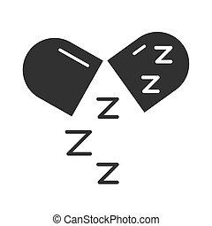 zzz, sueño, estilo, medicación, insomnio, símbolo, cápsula, ...